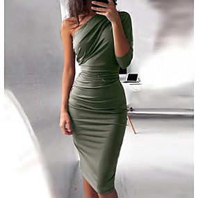 cheap -Women's Bodycon Knee Length Dress Purple Wine Army Green Gray Black Red Half Sleeve Solid Colored Ruched Fall One Shoulder Hot Sexy Kentucky Derby S M L XL XXL