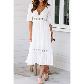 cheap -Women's Swing Dress Midi Dress White Half Sleeve Solid Colored Summer Spring & Summer V Neck Hot vacation dresses Flare Cuff Sleeve 2021 S M L XL