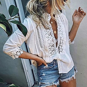 cheap -Women's Holiday Blouse Shirt Solid Colored Long Sleeve Lace Deep V Tops Lace Basic Top White Blue Blushing Pink