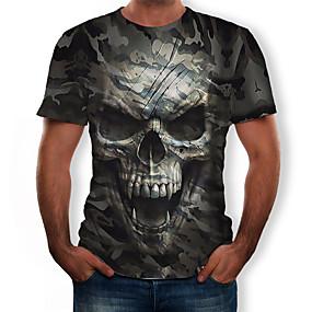 preiswerte -Herren T-Shirt Grafik 3D Totenkopf Motiv camuflaje Druck Oberteile Armeegrün