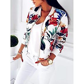 cheap -Women's Jacket Street Fall Spring Regular Coat V Neck Slim Sporty Classic & Timeless Jacket Long Sleeve Floral / Botanical Floral Blue White / Loose / Print