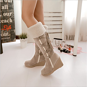 cheap -Women's Boots Wedge Heel Knee High Boots Daily Faux Leather Black Brown Beige