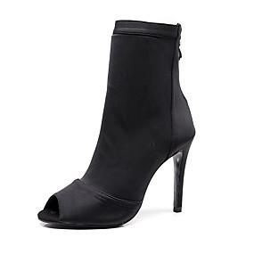 cheap -Women's Dance Shoes Salsa Shoes Dance Boots Heel Chain Slim High Heel Black Red Blue Zipper / Performance / Practice