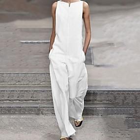 cheap -Women's White Black Jumpsuit Solid Colored