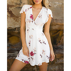 cheap -Women's Wrap Dress Short Mini Dress White Red Short Sleeve Floral Print Summer V Neck Hot 2021 S M L XL