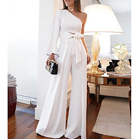 cheap -Women's White Jumpsuit Women Sexy Two Piece Set One Shoulder Long Sleeve Lace up Crop Top High Waist Wide Leg Pants Outfits