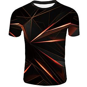 cheap -Men's T shirt Graphic Abstract Print Short Sleeve Casual Tops Basic Orange