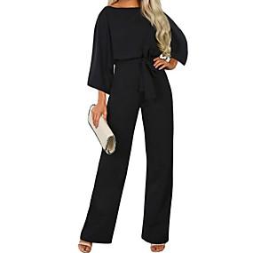 cheap -Women's Streetwear Black Navy Blue Beige Loose Jumpsuit Solid Colored Drawstring