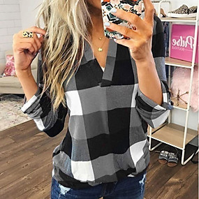 cheap -Women's Blouse Shirt Color Block Plaid Check Long Sleeve V Neck Tops Loose Basic Top Blue Purple Red