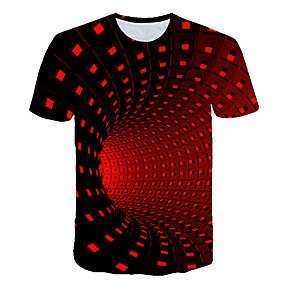 preiswerte -Herren T-Shirt Grafik 3D-Druck Druck Kurzarm Ausgehen Oberteile Grundlegend Street Schick Schwarz Purpur Rote