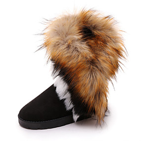 cheap -Women's Boots Snow Boots Flat Heel Round Toe Mid Calf Boots Casual Daily Satin Pom-pom Solid Colored Winter Camel Black Blue / Booties / Ankle Boots / Booties / Ankle Boots