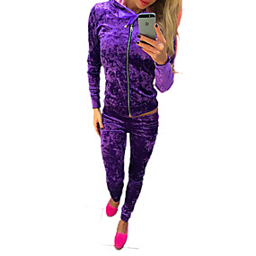 cheap -Women's Tracksuit Streetwear Casual Long Sleeve Winter Velour Breathable Warm Soft Fitness Running Sportswear Solid Colored Athleisure Wear Clothing Suit Purple Blue Pink Green Activewear Stretchy