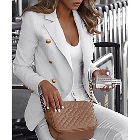 cheap -Women's Double Breasted Notch lapel collar Blazer Solid Colored White / Black / Blue S / M / L