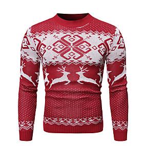 preiswerte -Herrn Weihnachten Tier Pullover Langarm Pullover Cardigans Rundhalsausschnitt Winter Rote Marineblau
