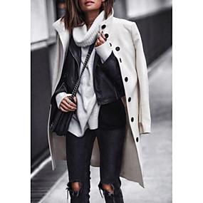 preiswerte -Damen Herbst Winter Ständer Mantel Standard Solide Alltag Weiß Schwarz S M L XL