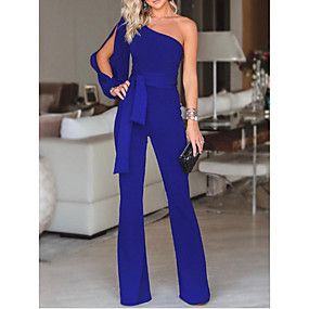 cheap -Women's White Black Blue Jumpsuit Solid Colored