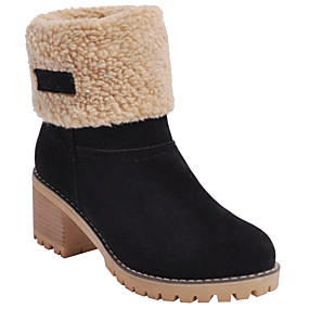 cheap -Women's Boots Block Heel Boots Snow Boots Chunky Heel Round Toe Booties Ankle Boots Preppy Daily Suede Solid Colored Winter Camel Black Orange / Mid-Calf Boots