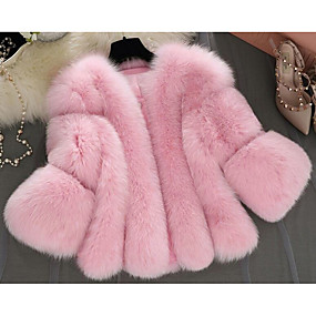 cheap -Women's Winter Fur Coat Short Solid Colored Going out Streetwear Pleated White Blushing Pink Gray S M L XL