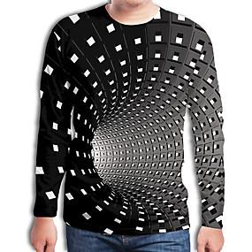 preiswerte -Herren T-Shirt Grafik Geometrisch 3D Übergrössen Druck Langarm Alltag Oberteile Street Schick Übertrieben Schwarz