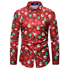 cheap -Men's Shirt Other Prints Graphic Long Sleeve Christmas Tops Button Down Collar White Black Red