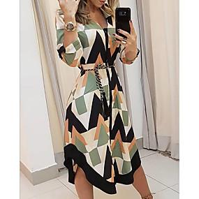 cheap -Women's Beige 3/4 Length Sleeve Geometric V Neck Hot US4 / UK8 / EU36 S M L XL