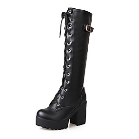 cheap -Women's Boots Block Heel Boots Combat Boots Chunky Heel Round Toe Knee High Boots Classic Punk & Gothic Daily PU Lace-up Solid Colored White Black