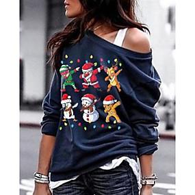 cheap -Women's Sweatshirt Print Christmas Basic Hoodies Sweatshirts  Black Blue Army Green