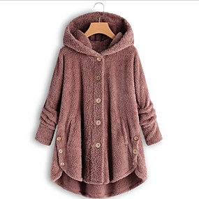 cheap -Women's Teddy Coat Long Solid Colored Daily Black Yellow Blushing Pink Wine S M L XL
