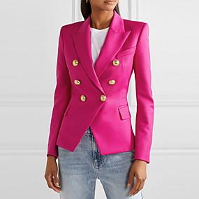 cheap -Women's Blazer Solid Colored Classic Classic & Timeless Long Sleeve Coat Fall Spring Office / Career Regular Jacket Fuchsia / Notch lapel collar / Work