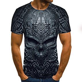 preiswerte -Herren T-Shirt Grafik 3D Totenkopf Motiv Übergrössen Druck Kurzarm Alltag Oberteile Street Schick Übertrieben Schwarz Blau Purpur