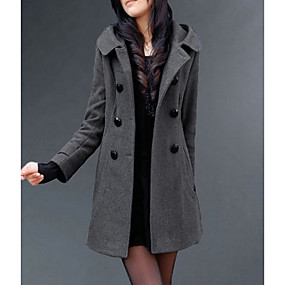 cheap -Women's Solid Colored Long Coat Daily Polyester Long Sleeve Coat Tops