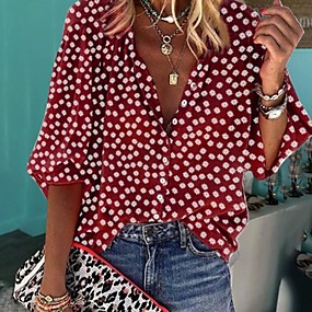 cheap -Women's Blouse Shirt Polka Dot Floral Flower Long Sleeve Round Neck V Neck Tops Casual Basic Top White Black Yellow
