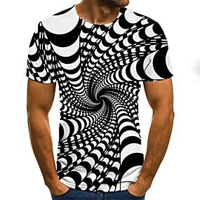 preiswerte -Herren T-Shirt Grafik 3D Übergrössen Druck Kurzarm Normal Oberteile Street Schick Übertrieben Schwarz Blau Purpur