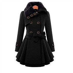 cheap -Women's Solid Colored Fall Coat Long Daily Long Sleeve Polyester Coat Tops Black