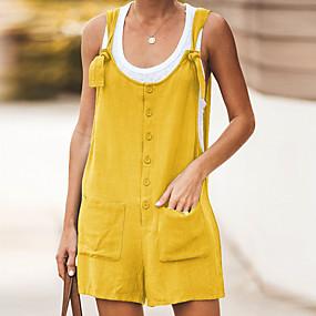 preiswerte -Damen Schwarz Wein Orange Jumpsuit, Solide S M L