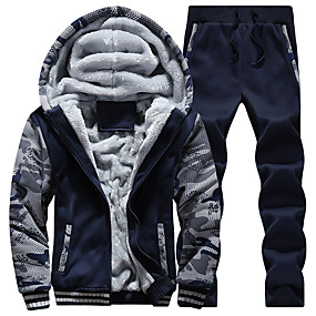 cheap -Men's 2-Piece Embroidered Tracksuit Running Track Jacket Sweatsuit Casual Long Sleeve Winter Front Zipper Fleece Thermal Warm Windproof Soft Fitness Running Sportswear Plus Size Hoodie Jacket and