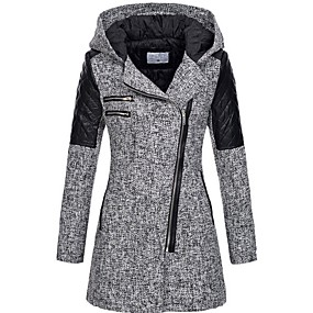 cheap -Women's Fall & Winter Trench Coat Long Solid Colored Daily black. Wine Light gray Dark Gray S M L XL