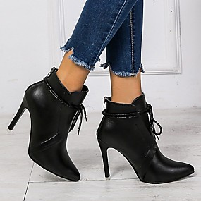 cheap -Women's Boots Stiletto Heel Boots Stiletto Heel Pointed Toe Booties Ankle Boots Classic Daily Faux Leather Solid Colored Black / Booties / Ankle Boots / Booties / Ankle Boots