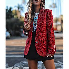 cheap -Women's Notch lapel collar Blazer Leopard Red / Yellow / Gray S / M / L