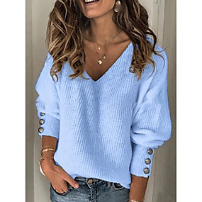 cheap -Women's Solid Colored Pullover Long Sleeve Sweater Cardigans V Neck Blue Red Gray
