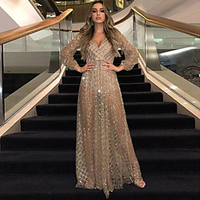 cheap -Women's Swing Dress Maxi long Dress Black Gold Long Sleeve Solid Color Backless Sequins Mesh Fall Spring V Neck Sexy 2021 S M L XL XXL