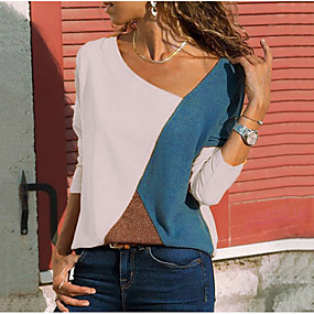 cheap -Women's Plus Size Blouse Shirt Color Block Long Sleeve Round Neck V Neck Tops Basic Top Blue Red Beige