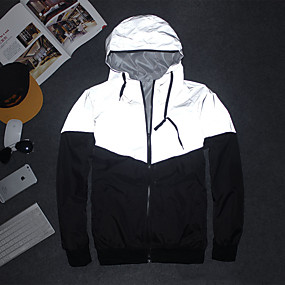 cheap -Men's Long Sleeve Running Track Jacket Reflective Jacket Hoodie Jacket Full Zip Jacket Hoodie Athleisure Wear High Visibility Reflective Windproof Fitness Running Jogging Sportswear Black / White