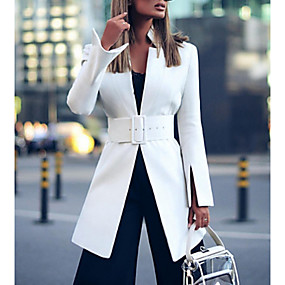 cheap -Women's Blazer Solid Colored Modern Style Elegant & Luxurious Long Sleeve Coat Fall Spring WorkWear Long Jacket White / Stand Collar / Slim