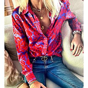 cheap -Women's Blouse Shirt Abstract Long Sleeve Shirt Collar Tops Basic Top Fuchsia