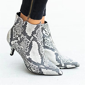cheap -Women's Boots Fashion Boots Kitten Heel Pointed Toe Booties Ankle Boots Casual Daily Suede Leopard Snakeskin Winter Leopard White Black / Booties / Ankle Boots / Booties / Ankle Boots