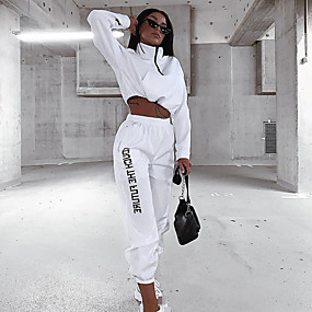 cheap -Women's 2-Piece Cropped Tracksuit Sweatsuit Street Athleisure Long Sleeve Winter High Neck Breathable Soft Fitness Running Jogging Sportswear Outfit Set Clothing Suit White Activewear Micro-elastic