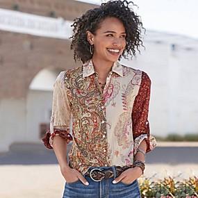 cheap -Women's Geometric Shirt Daily Shirt Collar Light Brown