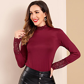 cheap -Women's Solid Colored Blouse 3/4 Length Sleeve Daily Slim Tops Basic Elegant Wine