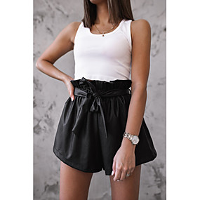 cheap -Women's Basic Loose Shorts Pants Solid Colored Black